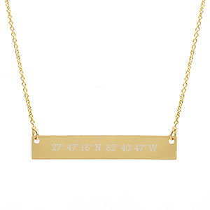 Gold Bar Engraved Coordinates Necklace