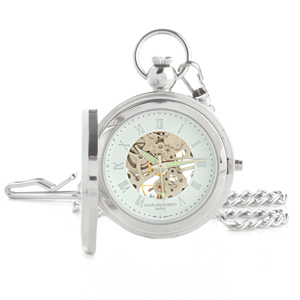 Charles-Hubert Paris Photo Insert Skeleton Pocket Watch