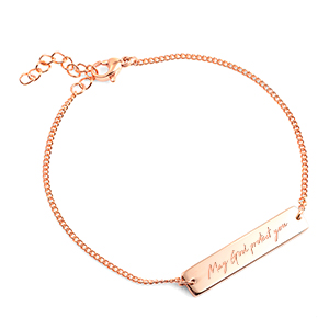 Rose Gold Bracelet with Free Handwritten Message Engraving