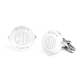 Round Engraved Cufflinks Polished Stainless Steel