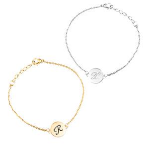 Round Silver Personalized Charm Bracelet