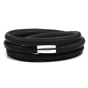 Echo Black Soft Leather Multi Wrap for Silver Charms