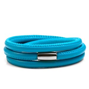 Echo Turquoise Soft Leather Multi Wrap for Silver Charms