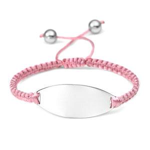 Pink Macrame Engraved Bracelet Adjustable