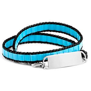 Adjustable Pacific Blue Ocean Double Wrap Shell Engraved Bracelet