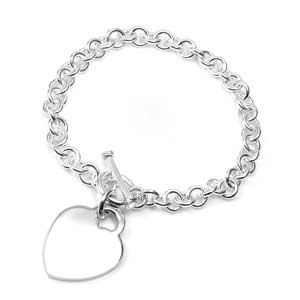 Personalized Silver Heart Charm Bracelet for her