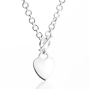 Engraved Sterling Silver Heart Pendant Toggle Necklace