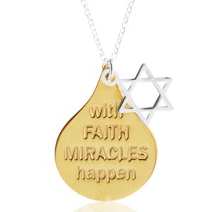 With Faith Miracles Happen Gold Plated Sterling Necklace