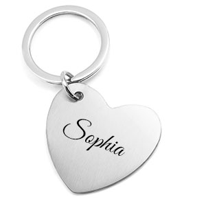 Silver Heart Personalized Keychain