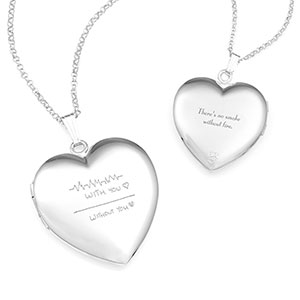 Silver Heart Personalized Locket Handwriting Necklace