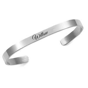 Silver Rhodium Plated Cuff Bracelet Small