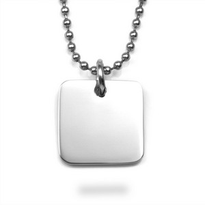 Silver Square Personalized Charm Necklaces