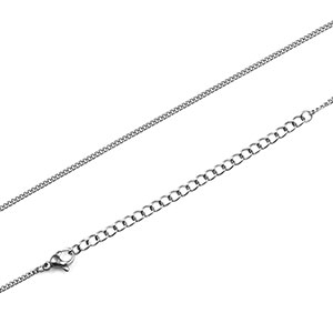 Silver stainless adjustable 1.5mm curb link chain 18 to 21 inch