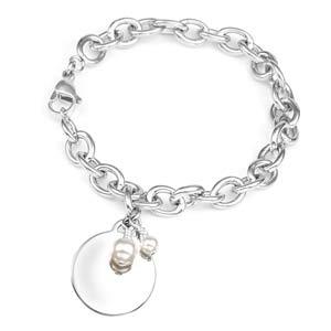 Pearl Birthstone Silver Charm Bracelet 7 1/2 Inch
