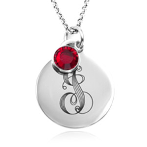 Silver Personalized Birthstone Necklace Pendants