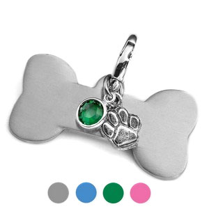 Assorted Color Crystal & Paw Charm Bone Pet ID Collar Tag