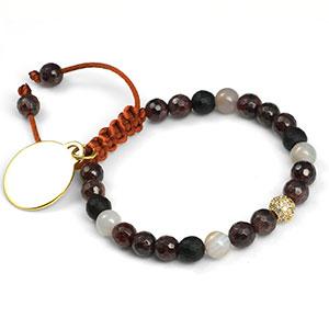 Talia Adjustable Agate And Garnet Bracelet
