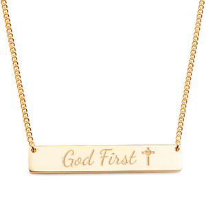 Slender Gold God First Bar Necklace