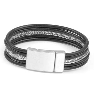 Genuine Black Leather Silver Tone Magnetic Fashion Bracelet