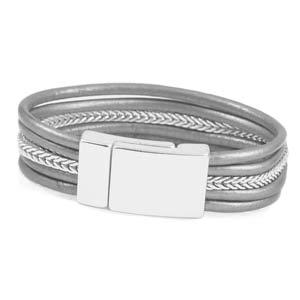 Genuine Grey Leather Silver Tone Magnetic Fashion Bracelet