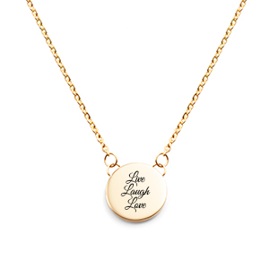 Small Round Gold Engraved Necklace