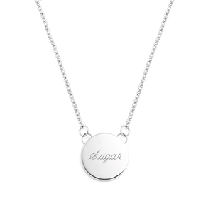 Small Round Silver Engraved Necklace