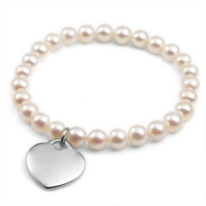 Genuine Pearl and Heart Stretch Charm Bracelet