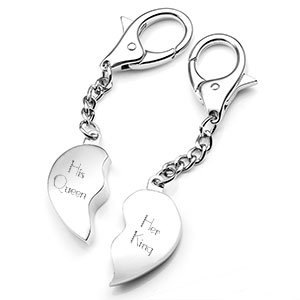Split Heart Silver Personalized Keychains