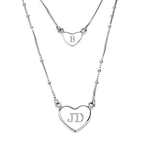 Sterling 2 Strand Engravable Heart Necklace