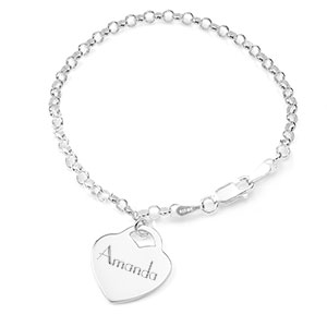 Sterling Engravable Bracelet with Heart