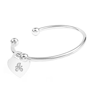 Sterling Cuff Bangle with Engravable Heart Charm