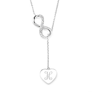 Sterling Infinity Engravable Heart Necklace