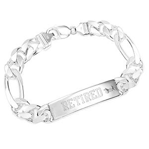 Sterling Silver Figaro ID Personalized Bracelet 8 inch