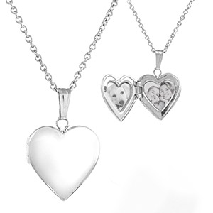 Sterling Silver Girls Engraved Locket Necklace