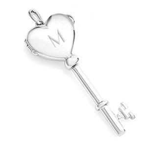 Engraved Sterling Silver Heart Key Locket