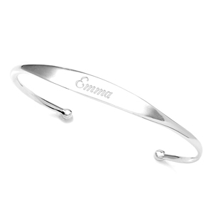 Sterling Silver Personalized Cuff Bangle