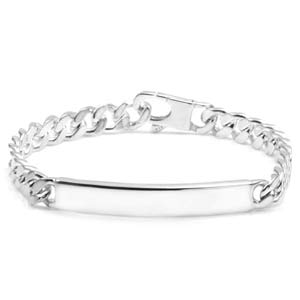 Sterling Silver Thin Curb Link Engraved Bracelets