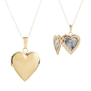 Sweet Girls 14k Gold Heart Personalized Locket 15 inch chain