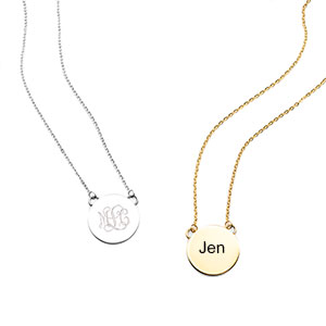 Tara Small Round Engravable Necklaces