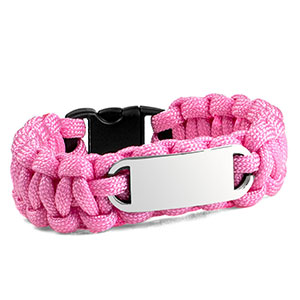 Pink Paracord Survival ID Bracelet & Steel Tag XS