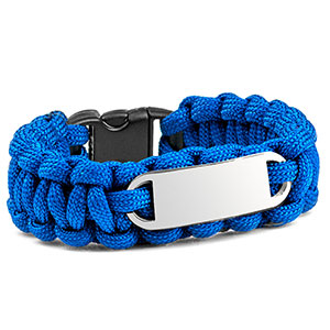 Womens Blue Paracord Survival ID Bracelet & Steel Tag MD