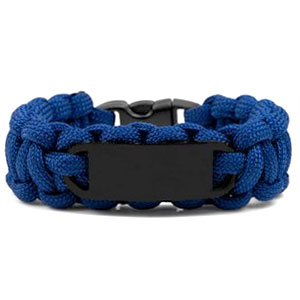 Blue Paracord Survival ID Bracelet & Black Tag XS