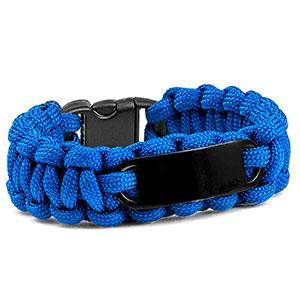 Womens Blue Paracord Survival ID Bracelet & Black Tag MD