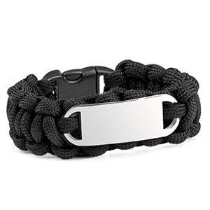 Womens Black Paracord Survival ID Bracelet & Steel Tag MD