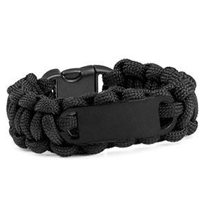 Womens Black Paracord Survival ID Bracelet & Black Tag MD