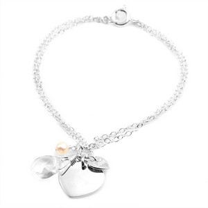 A Little Love Silver Engraved Charm Bracelet