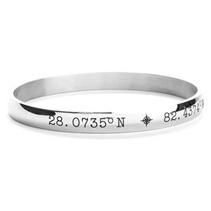 Yara Custom Engraved Latitude Longitude Bangle Bracelet