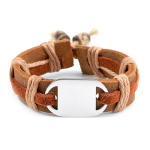 Kids Mesa Leather/Hemp Kids Bracelet Engravable Front/Back