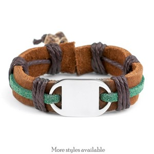 Engraved Leather and Hemp ID Bracelets for Kids